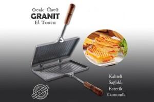 İç Dış Granit Döküm Ocak Üstü El Tost Makinası
