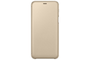 Samsung Galaxy A6+ Kapaklı Kılıf (Altın)