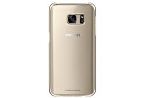 Samsung Galaxy S7 Koruyucu Arka Kapak (Şeffaf / Altın Sarısı)