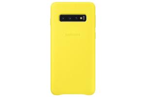 Samsung Galaxy S10 Sarı Deri Kılıf