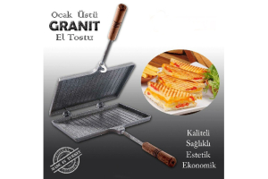 İç Dış Granit Döküm El Tost Makinası, Granit Ultra Lüks Ocak Üstü Tost Grill