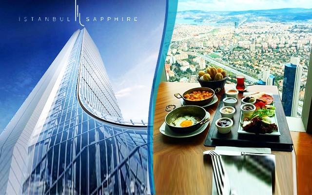 Avrupa'nın En Yüksek Binası Sapphire 54. Kat Seyir Teras Vista Cafe & Bistro'da Boğaz ve Adalar Manzarası Eşliğinde Lüks Kahvaltı Keyfi