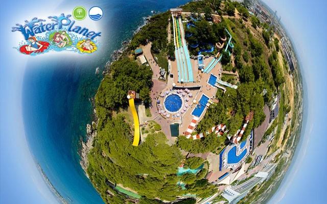 Akdeniz'in En Büyük Su Parkı Alanya Water Planet Aquapark'tan Aqua Park Girişi ve Limitsiz Soft İçecek Dahil Açık Büfe Fast Food