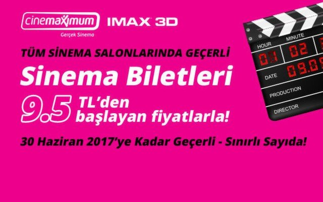 15 Mart 2017'ye Kadar Geçerli Sinema Biletleri - Sınırlı Sayıda!