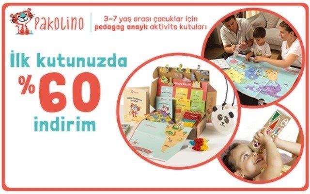 Pakolino.com'dan 3-7 Yaş Arası Çocuklara Özel Tasarlanan Eğitici ve Eğlenceli Aktivite Kutuları İçin 3 Aylık Üyeliklerde %60 İndirim Sağlayan Kupon